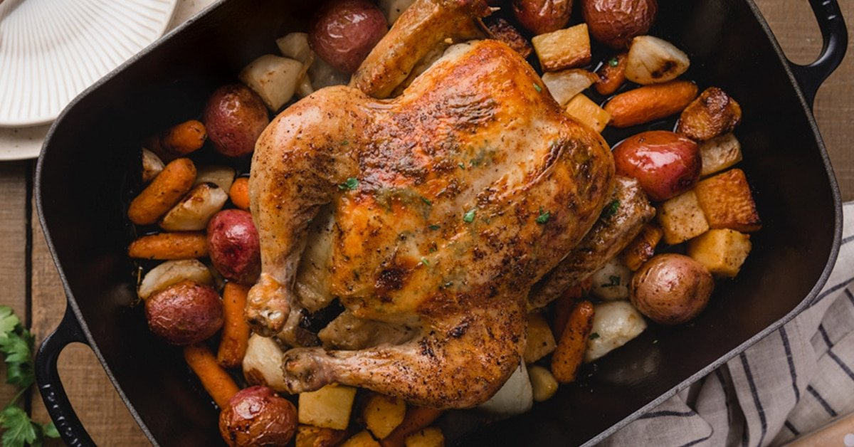 Roasted Chicken With Root Vegetables Striped Spatula