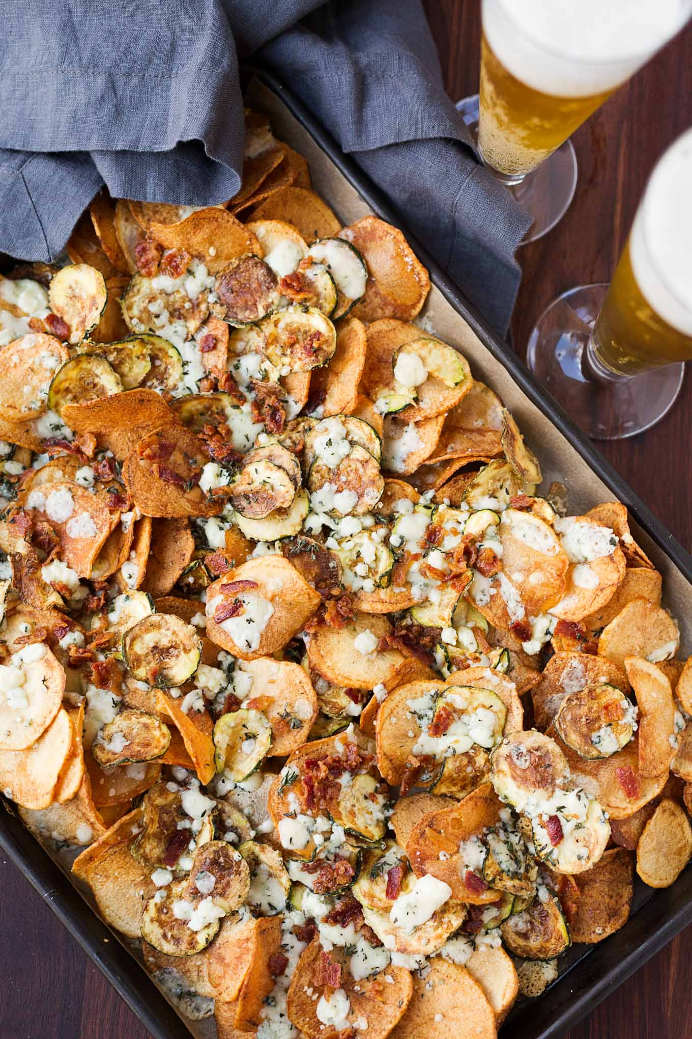 potato chips zucchini with bacon gorgonzola and thyme