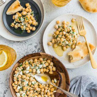 chickpea salad with lemon vinaigrette and feta