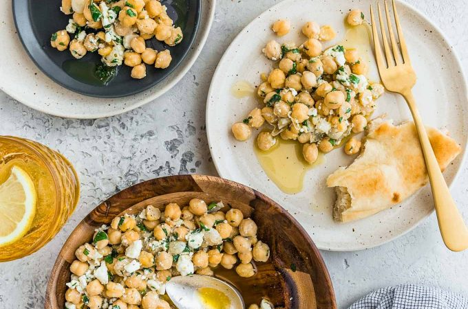 chickpea salad with lemon vinaigrette and feta