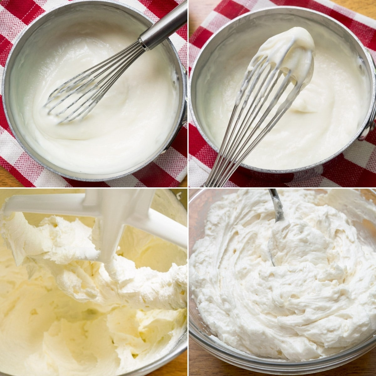 four photos showing the process of making ermine icing