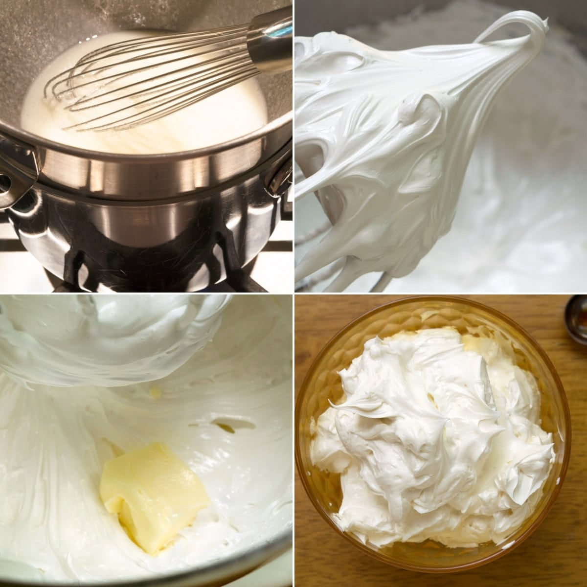 4 photos showing the process of making swiss meringue buttercream