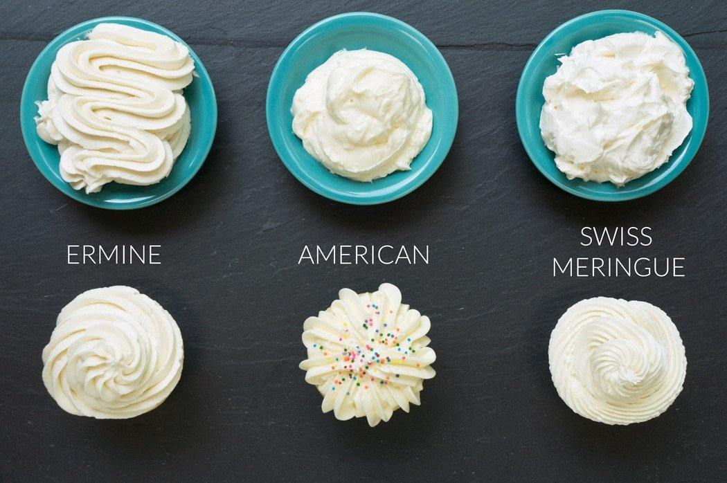 cupcakes frosted with ermine icing, american buttercream, and swiss meringue buttercream