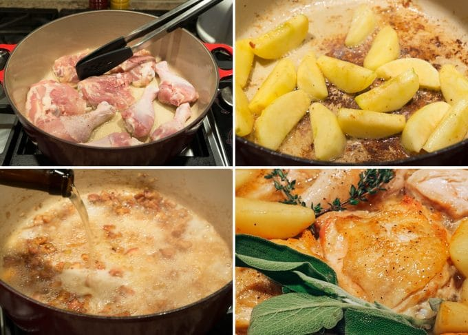 the process of making hard cider braised chicken