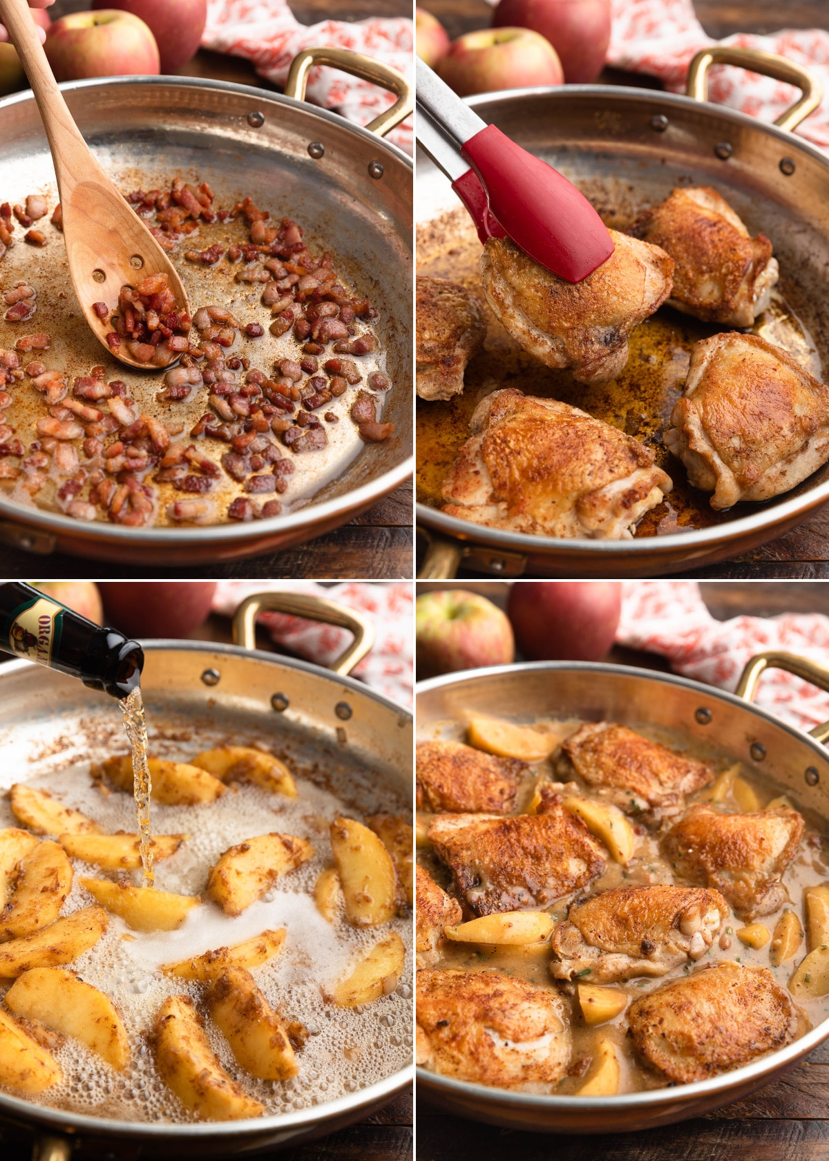 four photos showing the process of making hard cider chicken: crisping bacon, searing chicken thighs, pouring hard cider into the pan, and simmering the chicken and apples in the sauce