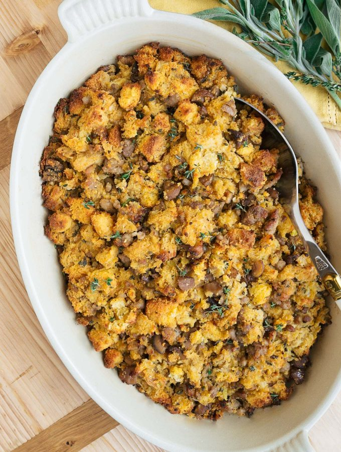 Cornbread Stuffing with Sausage and Chestnuts