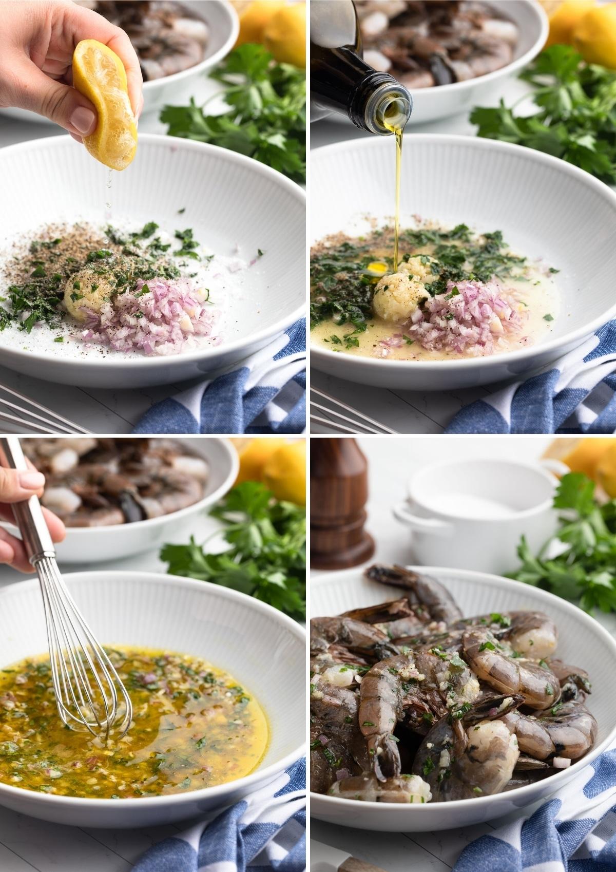 four photos showing the process of making lemon garlic shrimp marinade