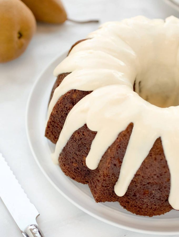 Pear Cardamom Cake with Maple Cream Cheese Icing