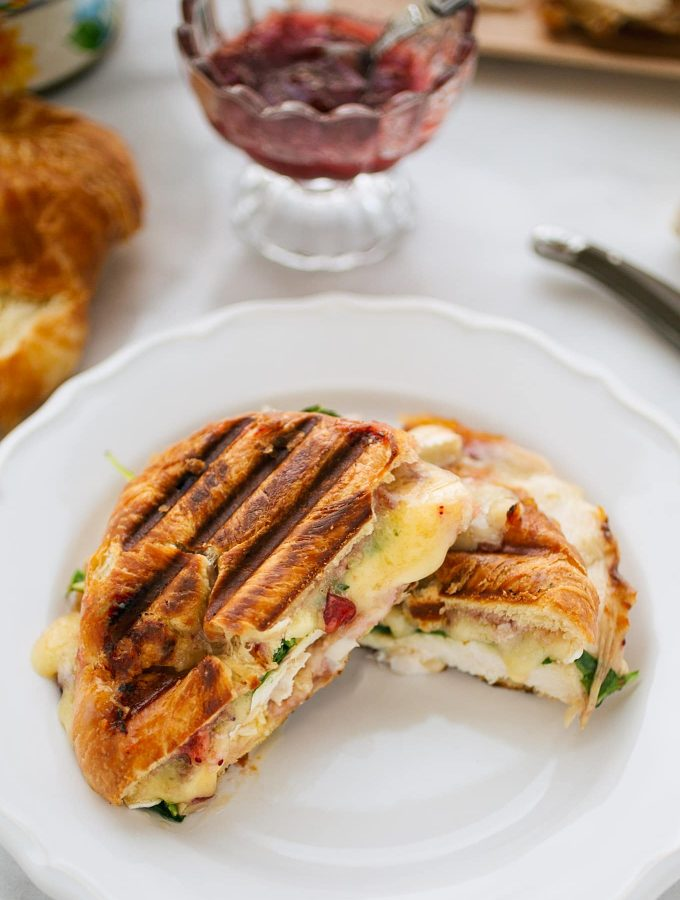turkey and brie croissant panini with cranberry sauce