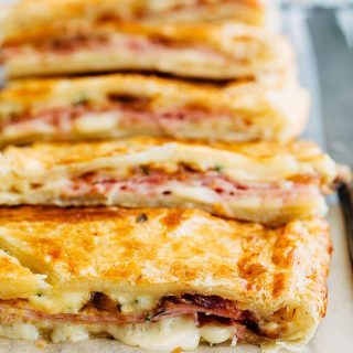 sliced ham and cheese puff pastry slab pie