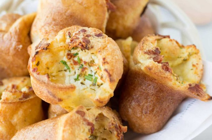 popovers recipe with goat cheese and bacon in a bread basket