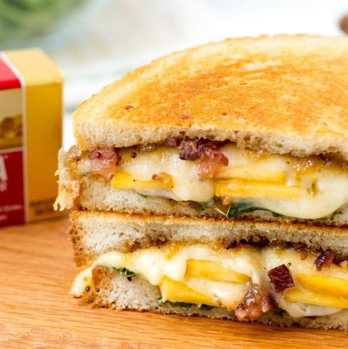 Ultimate Grilled Swiss with Bacon Peach Jam