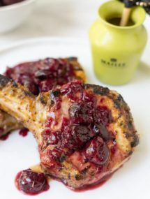 mustard grilled pork chops with cherry sauce recipe #sponsored