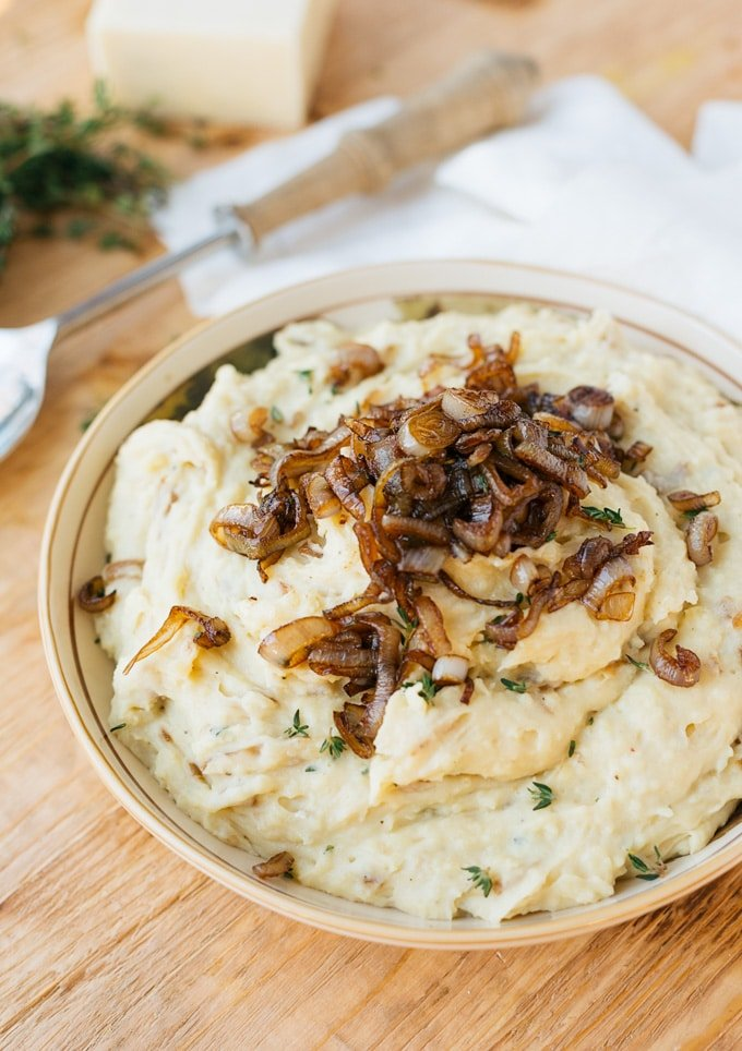caramelized shallot and cheddar mashed potatoes