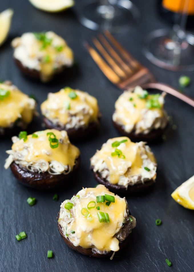 stuffed mushrooms crab with gouda and scallions