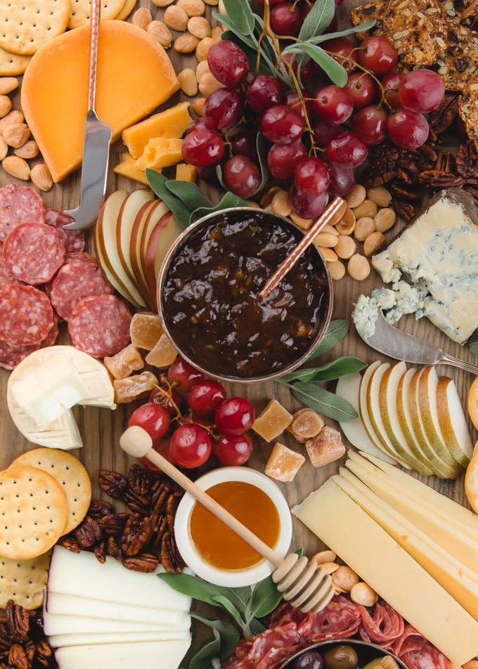closeup of a cheese and charcuterie plate