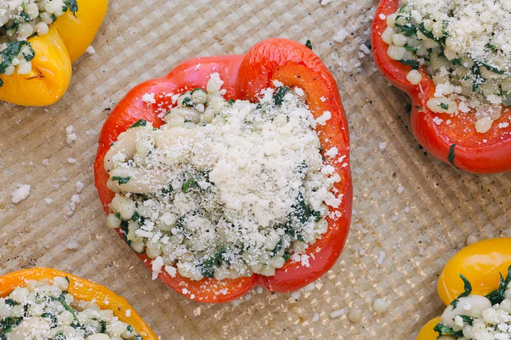couscous stuffed peppers on pan