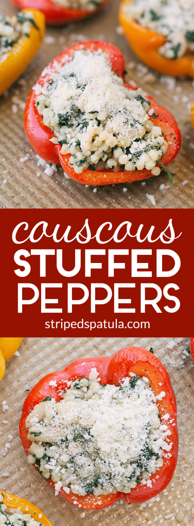 pearled couscous stuffed peppers pin