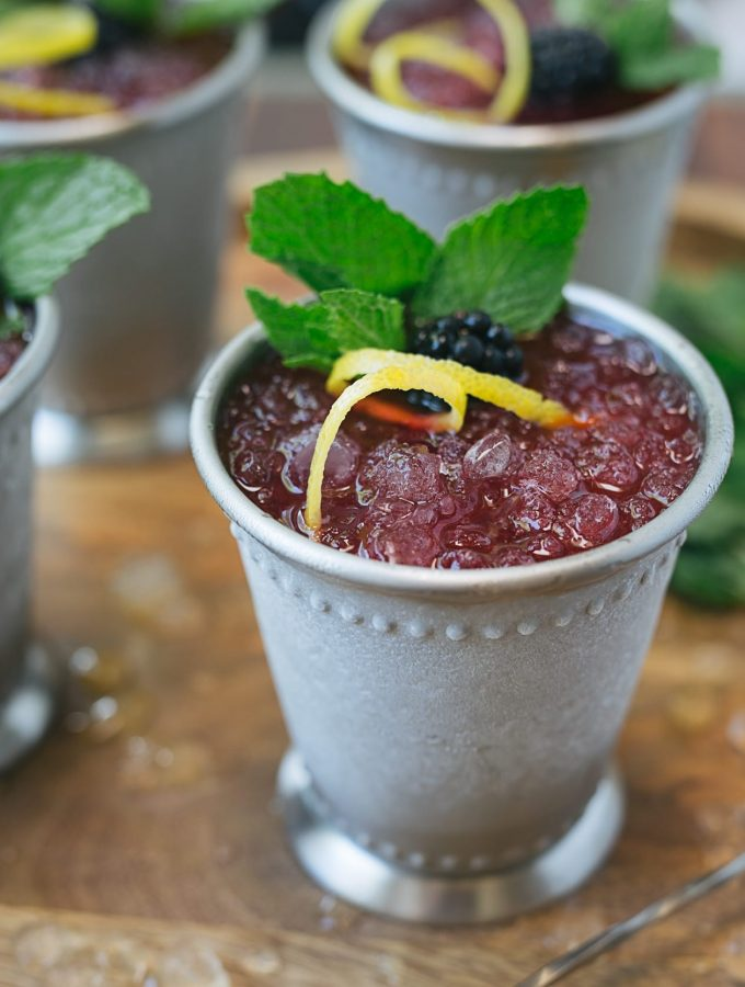 Blackberry-Lemon Mint Juleps | Striped Spatula