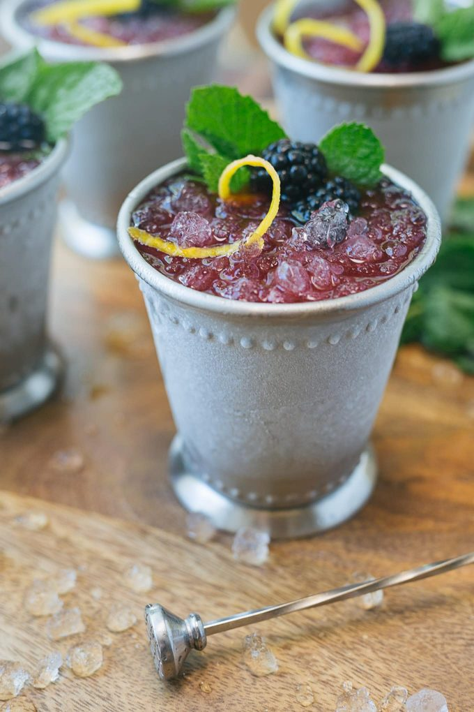 icy blackberry lemon mint julep served in a beaded julep cup