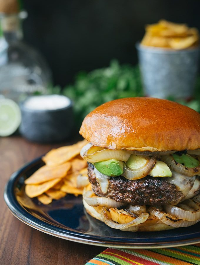 Mojo Beef Burgers with Tequila-Lime Aioli