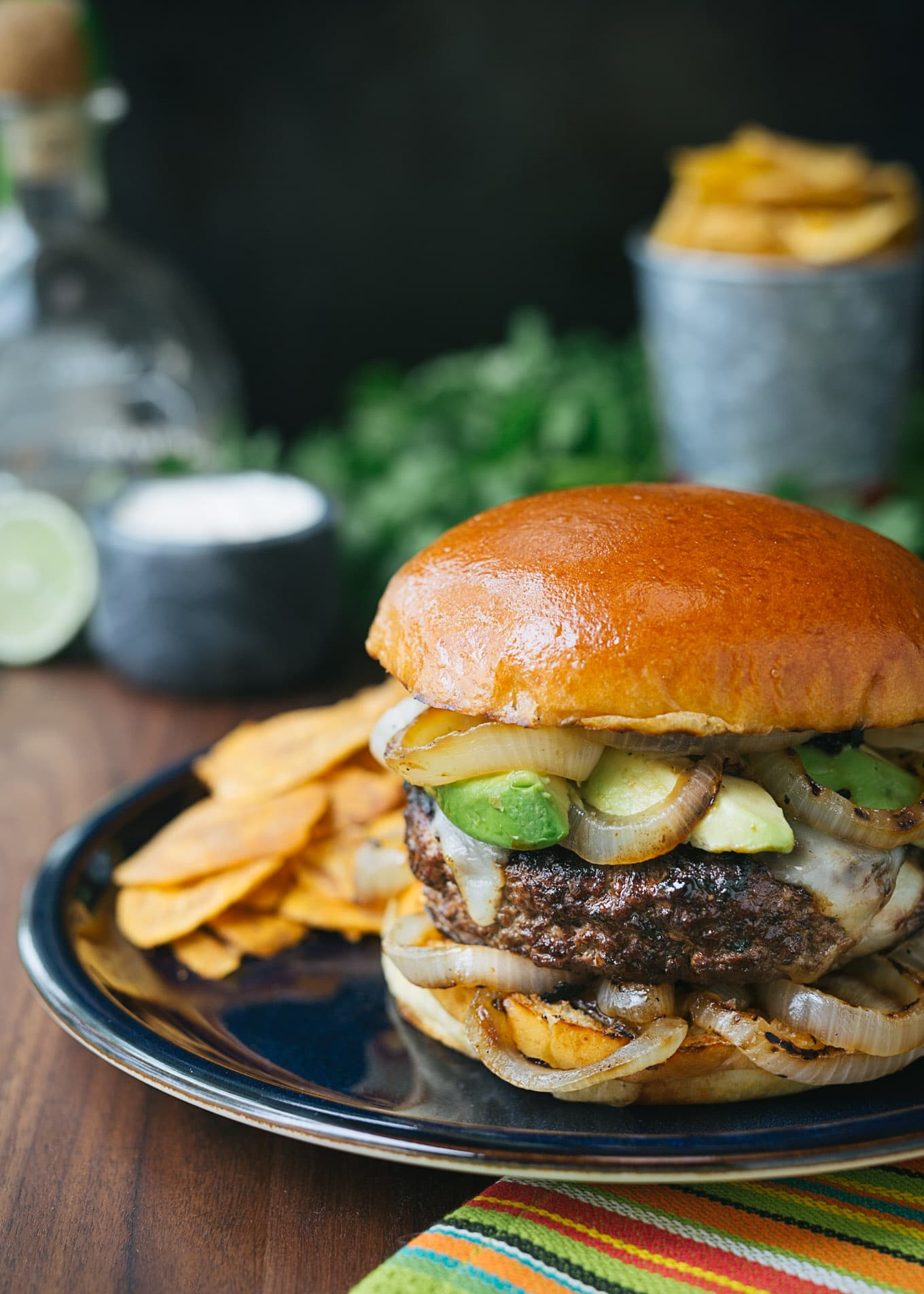 mojo beef burgers with tequila lime aioli striped spatula. Black Bedroom Furniture Sets. Home Design Ideas