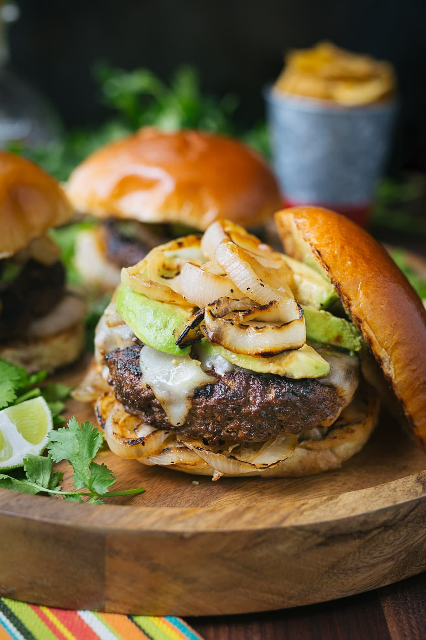 mojo beef burgers with grilled onions