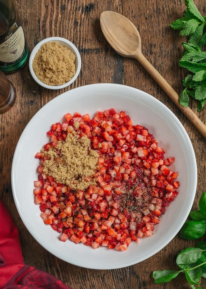 chopped strawberries with brown sugar and balsamic for fruit salsa