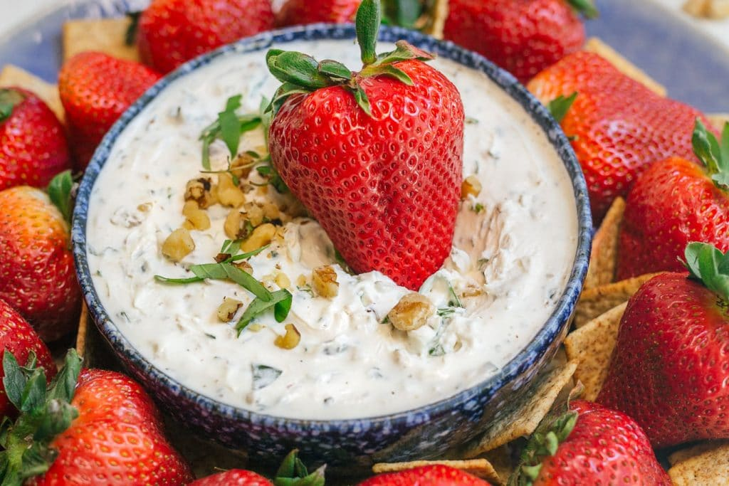 california giant berry farms strawberry in goat cheese dip [sponsored]