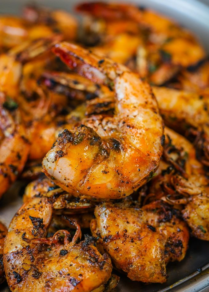 cajun grilled shrimp on a platter