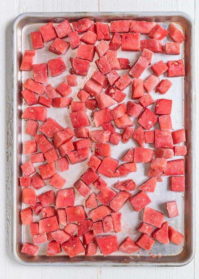 frozen watermelon cubes for daiquiris