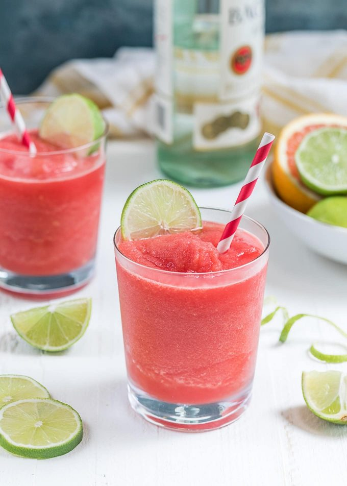 blended frozen watermelon daiquiris