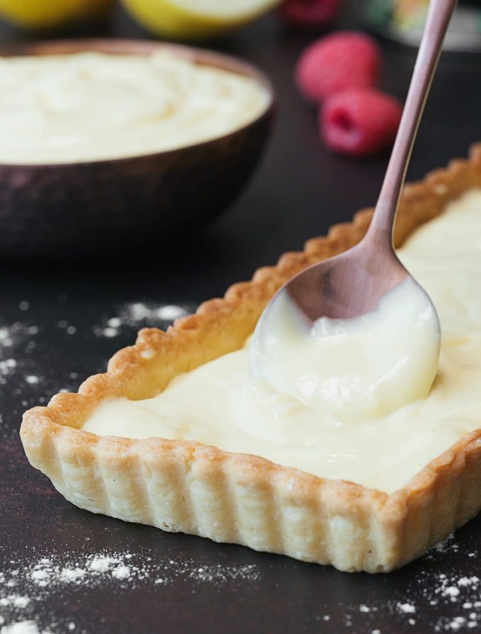 sponsored lemon pastry cream in tart shell