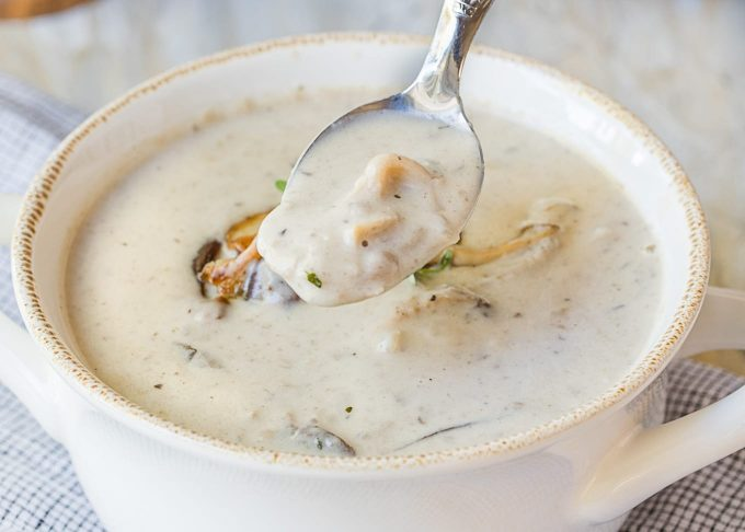 spoonful of creamy mushroom soup over a bowl