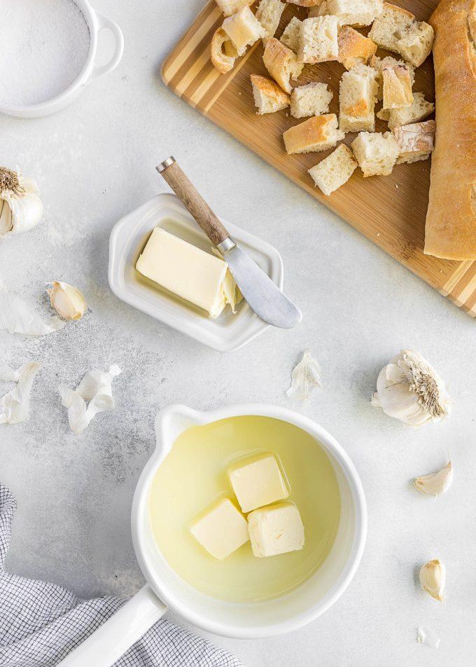 garlic butter in a saucepan