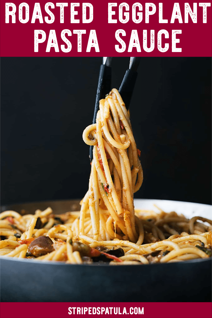 Bucatini with Roasted Eggplant and Cherry Tomato Sauce is a great recipe to use your farmer's market haul. You can have this pasta dinner recipe with sauce made from scratch on the table in just over an hour! #pasta #easydinner #summerrecipes #tomatoes #farmersmarket #eggplant #dinnerrecipes #sauce