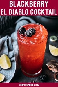 Blackberry El Diablo Halloween Cocktail with tequila
