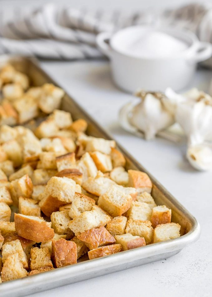 homemade croutons on a baking sheet