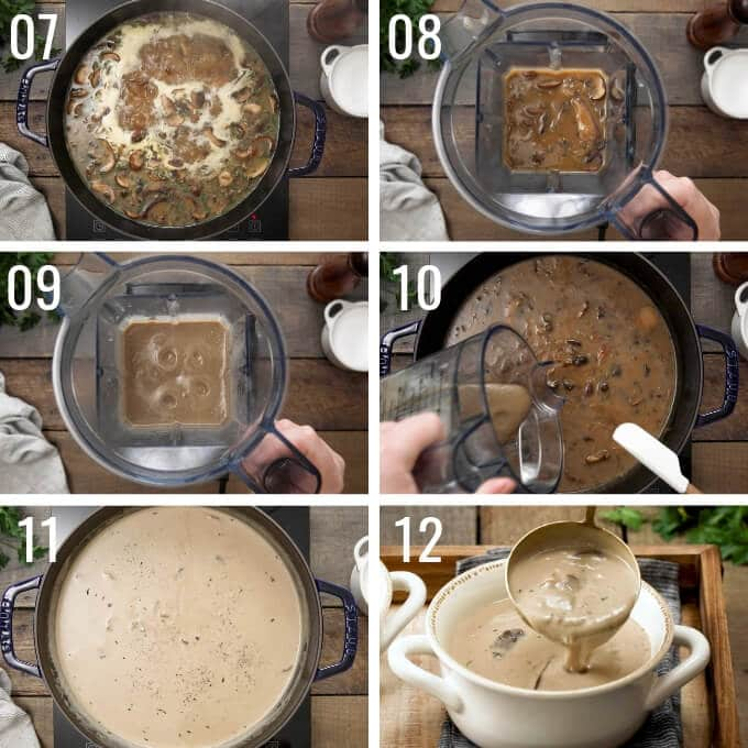 how to make cream of mushroom soup: steps 7-12
