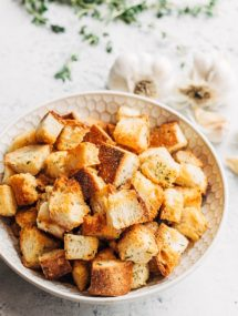 homemade croutons with garlic butter and herbs in a bowl