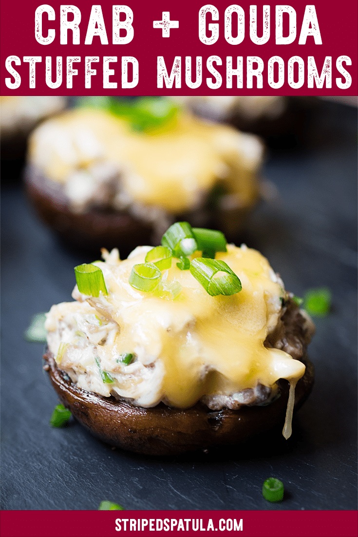 This rich Crab Stuffed Mushroom recipe, with sweet lump crabmeat, Gouda, and Dijon, is an easy appetizer or side dish for any occasion! #stuffedmushrooms#crab#cheese#appetizers#gamedayfood