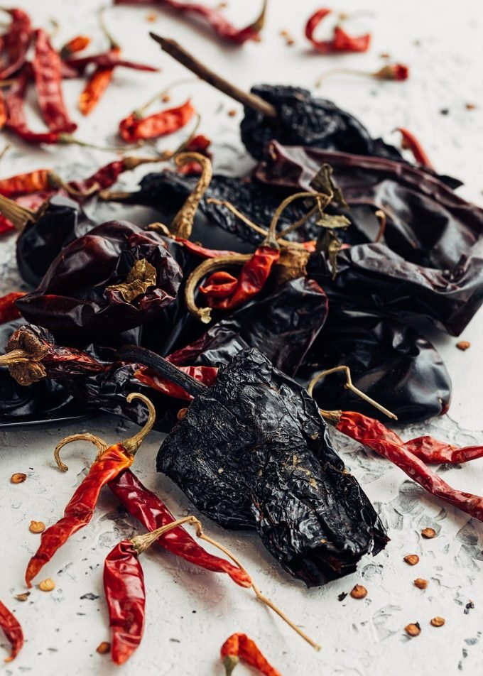 dried arbol, anaheim, and ancho chiles for chili paste recipe