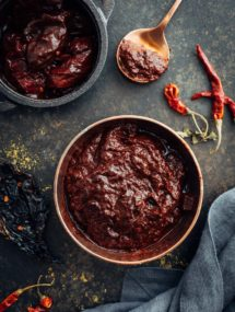 homemade chili paste with dried chilis