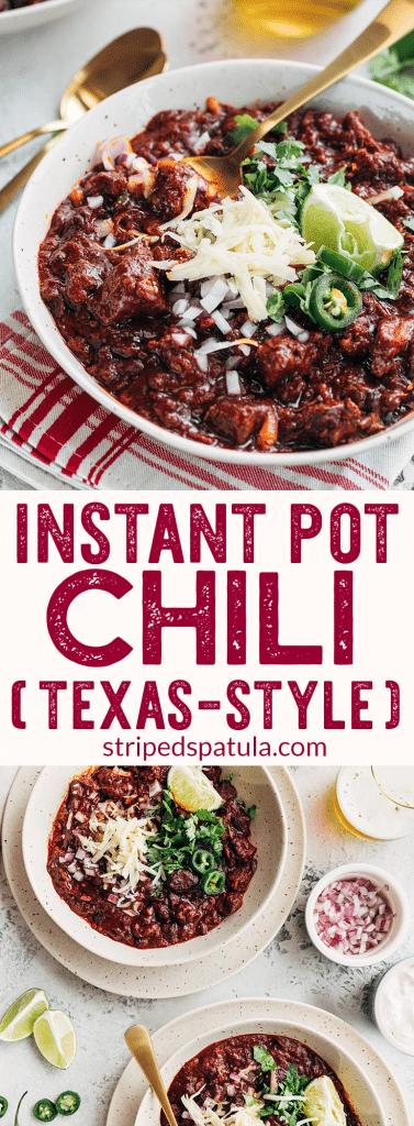 Instant Pot Chili Texas Style Striped Spatula
