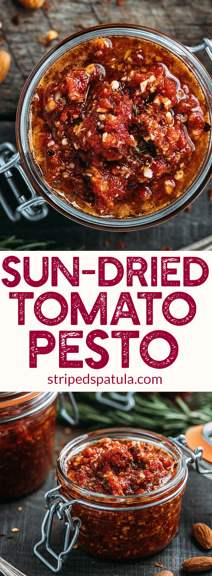 Sun-Dried Tomato Pesto Recipe (Pesto Rosso) - A rich pesto variation that's naturally gluten-free and vegan! | Sun-Dried Tomato Recipes | Pasta Sauce Recipes | #pesto #sauce #glutenfree #veganrecipes