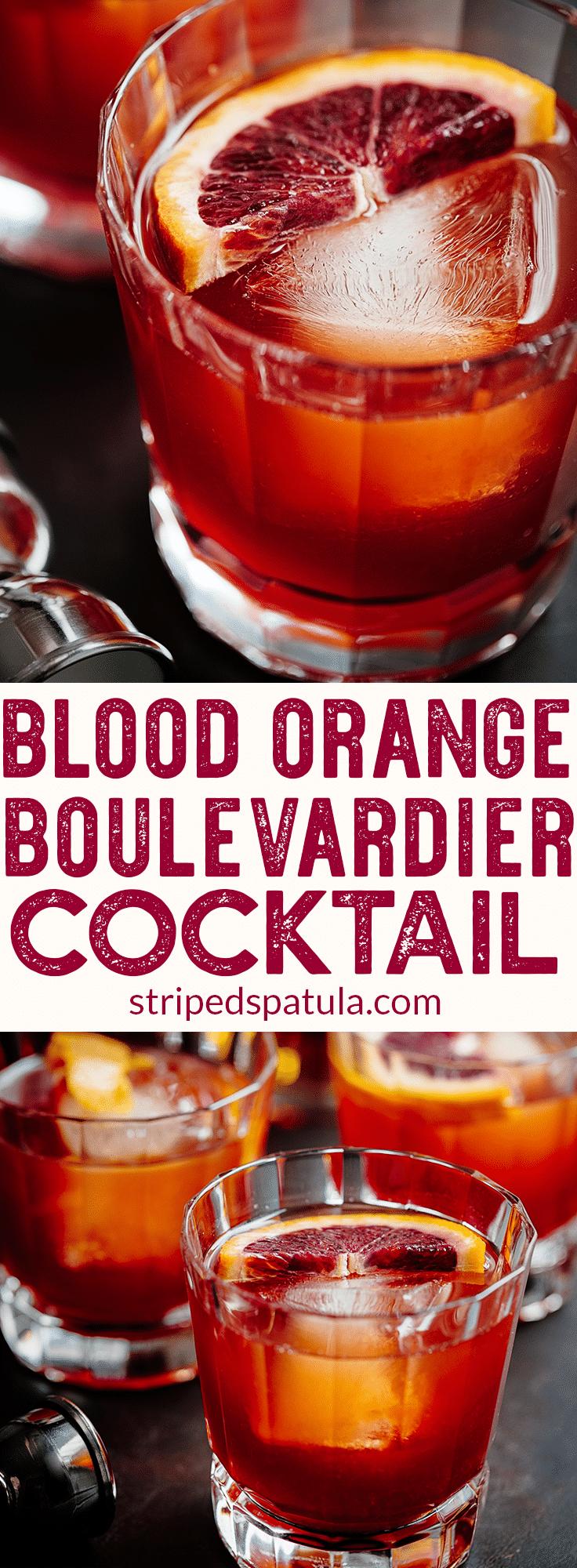 Blood Orange Boulevardier Cocktail | Campari Drinks | Campari Cocktail | Bourbon Cocktails | Bourbon Drinks | Whiskey Cocktails | Cocktail Recipes | Alcoholic Drinks | #drinkrecipes #alcohol #cocktails #cocktailrecipe #bourbon #stripedspatula