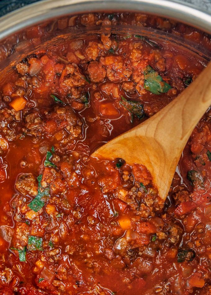 ragu bolognese in an instant pot before pressure cooking
