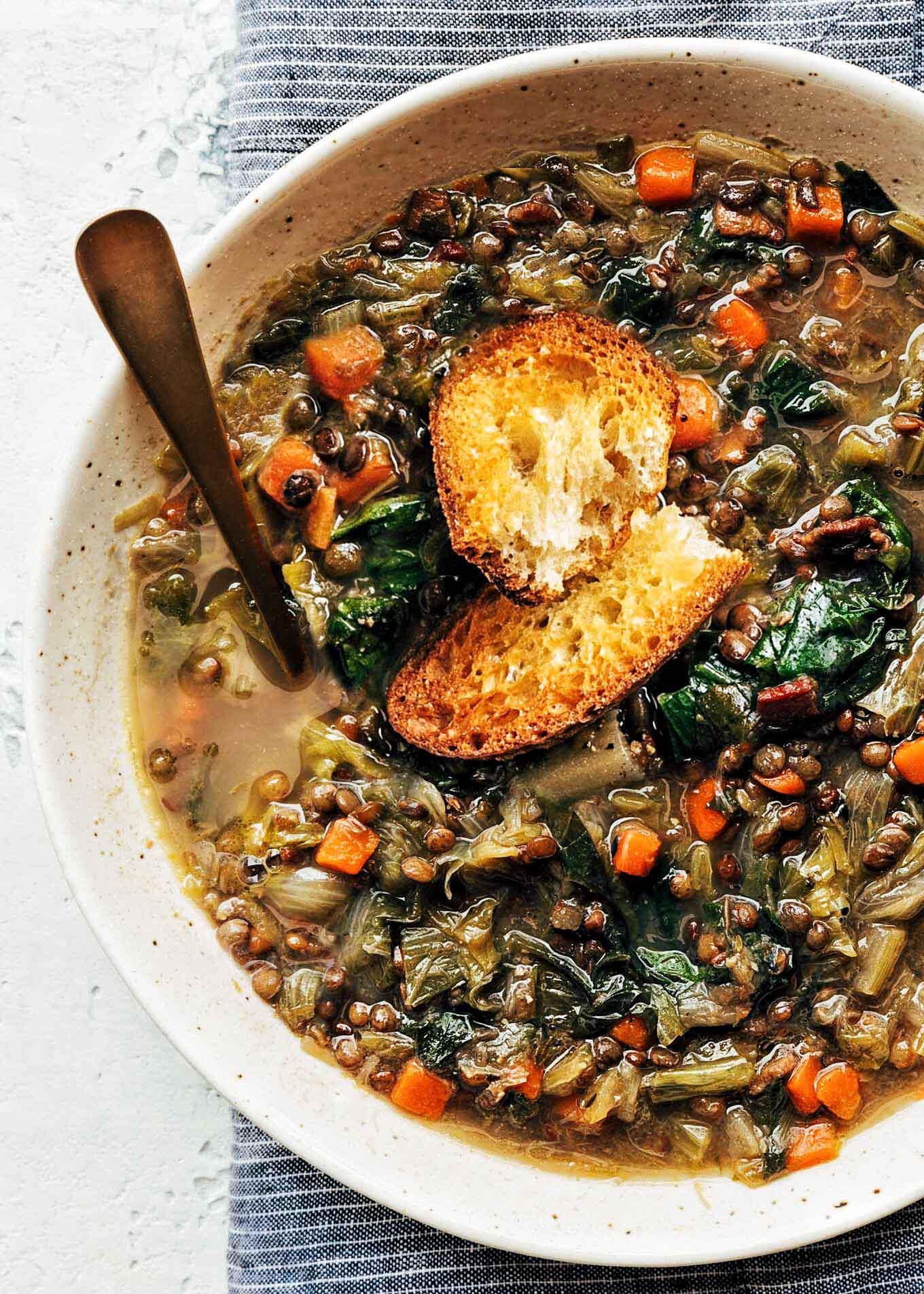 French Lentil Soup with Escarole