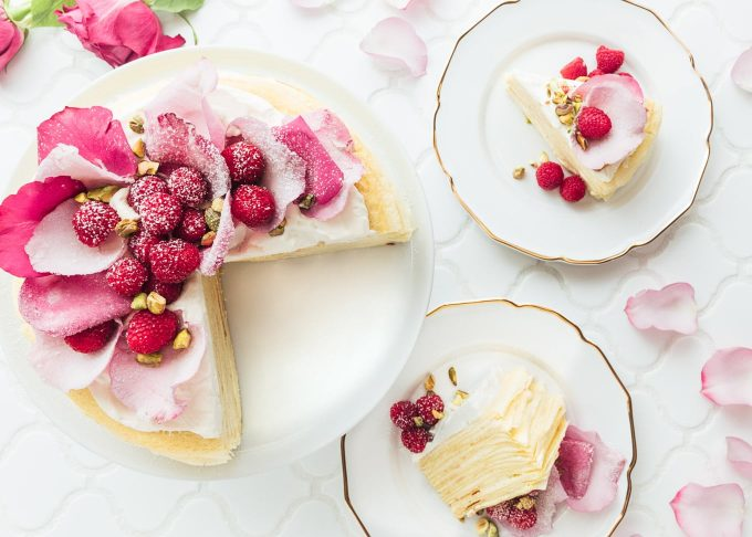rosewater mille crepe cake with raspberries (sponsored)