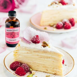 sliced crepe cake with rosewater-vanilla cream